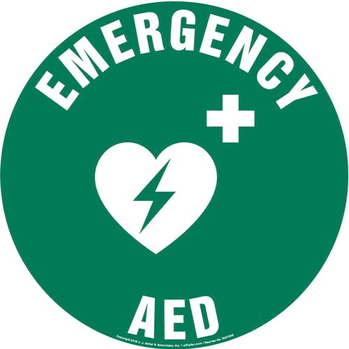Emergency AED Sign with Icon - Round (013626)