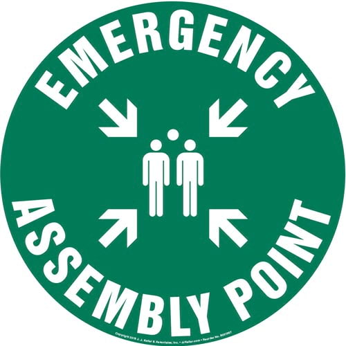 Emergency Assembly Point Sign with Icon - Round (013627)