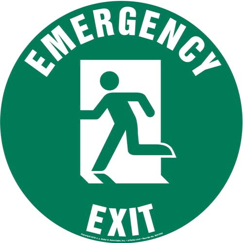 Emergency Exit Left Sign with Icon - Round (013628)