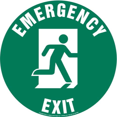 Emergency Exit Right Sign with Icon - Round (013629)