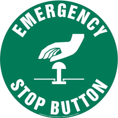 Emergency Stop Button Sign with Icon - Round