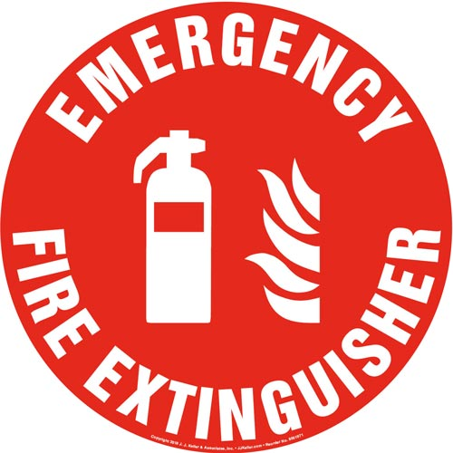 Emergency Fire Extinguisher Sign with Icon - Round (013631)