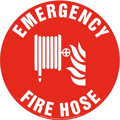Emergency Fire Hose Sign with Icon - Round (013632)