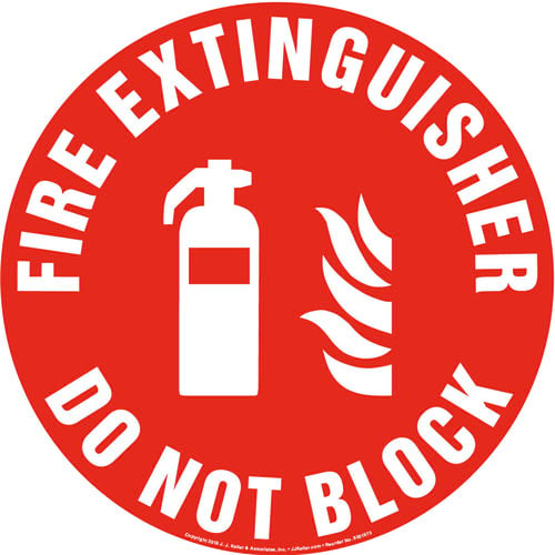 Fire Extinguisher, Do Not Block Sign with Icon - Round (013633)
