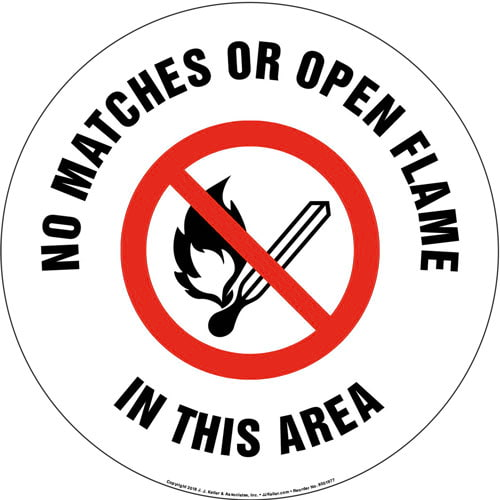No Match or Open Flame In This Area Sign with Icon - Round (013637)