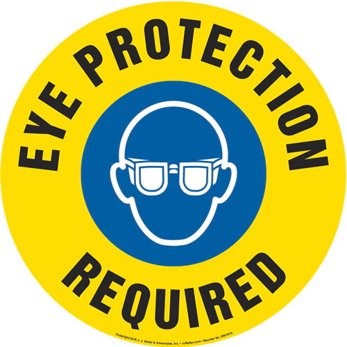 Eye Protection Required Sign with Icon - Round (013639)