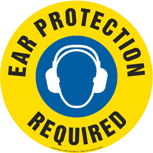 Ear Protection Required Sign with Icon - Round (013640)