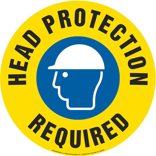 Head Protection Required Sign with Icon - Round (013641)
