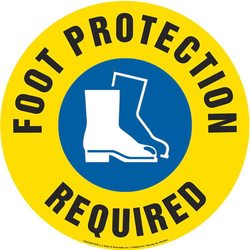 Foot Protection Required Sign with Icon - Round (013642)