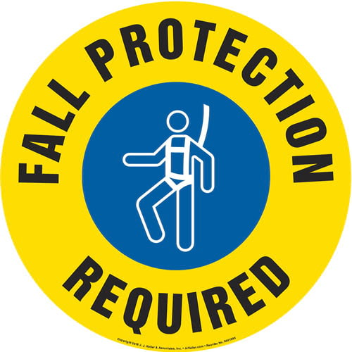 Fall Protection Required Sign with Icon - Round (013645)