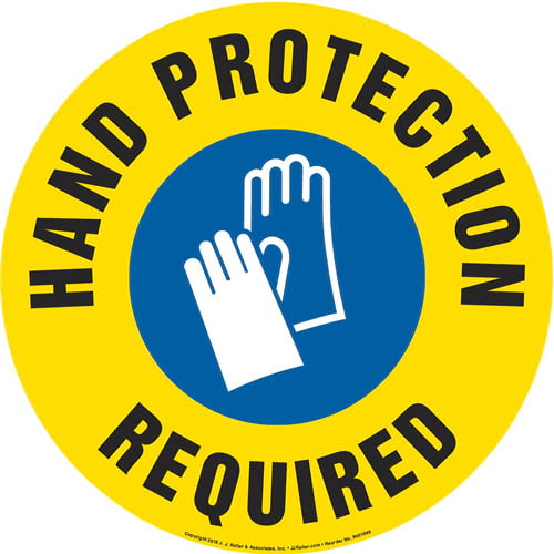 Hand Protection Required Sign with Icon - Round (013646)