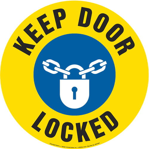 Keep Door Locked Sign with Icon - Round (013647)