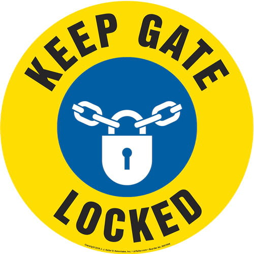 Keep Gate Locked Sign with Icon - Round (013648)