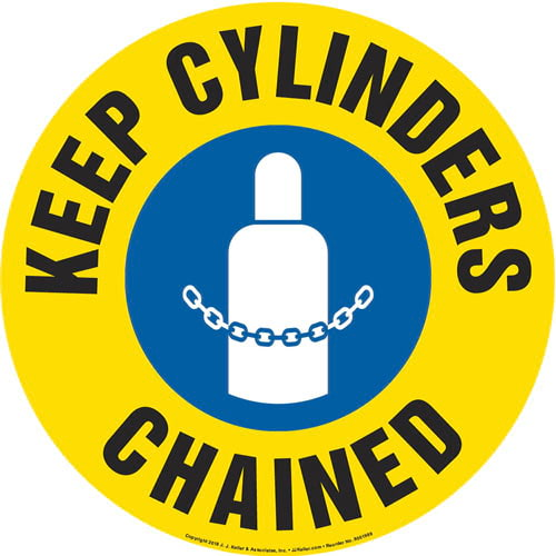 Keep Cylinders Chained Sign with Icon - Round (013649)