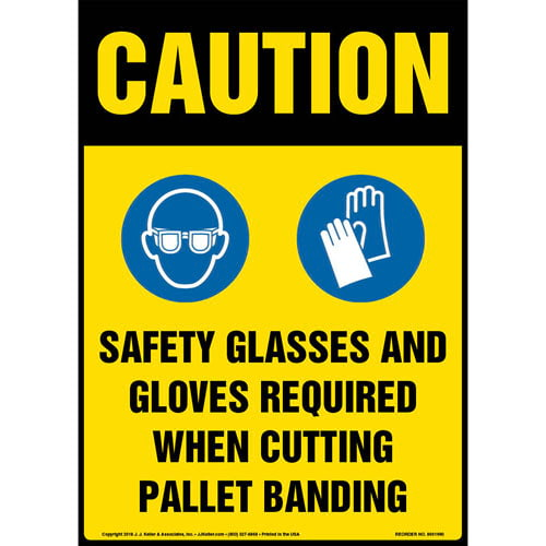 Caution: Safety PPE Required When Cutting Pallet Banding Sign with Icons - OSHA (013659)
