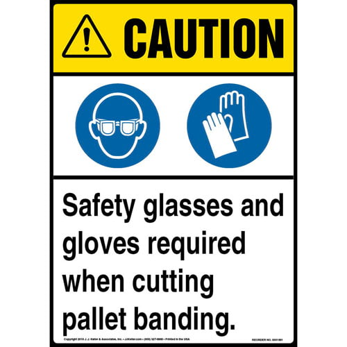 Caution: Safety PPE Required When Cutting Pallet Banding Sign with Icons - ANSI (013660)