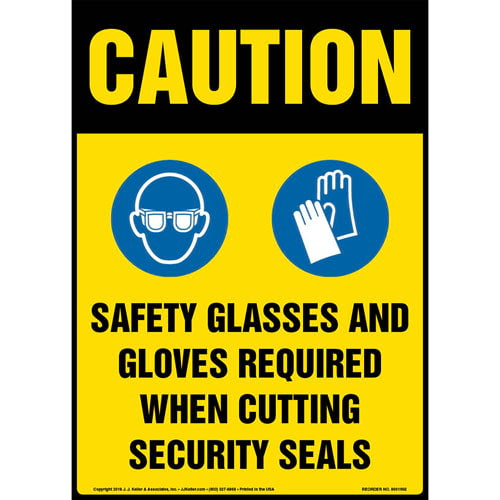 Caution: Safety PPE Required When Cutting Security Seals Sign with Icons - OSHA (013661)