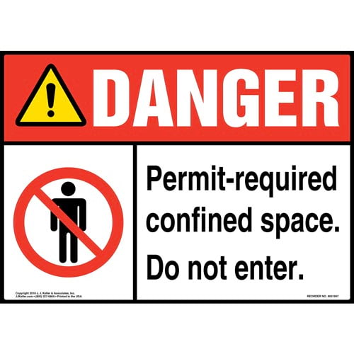 Danger: Permit-Required Confined Space, Do Not Enter Sign with Icons - ANSI (014067)