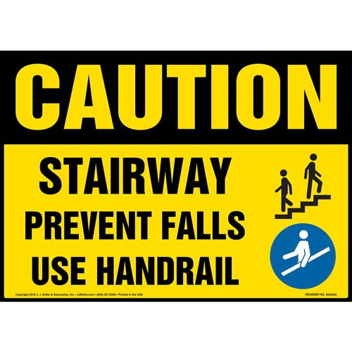 Caution: Stairway, Prevent Falls, Use Handrail Sign with Icons - OSHA (014072)