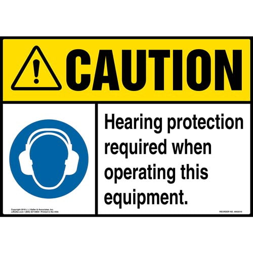 Caution: Hearing Protection Required When Operating This Equipment Sign - ANSI (013974)