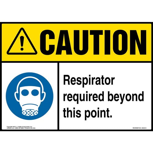 Caution: Respirator Required Beyond This Point Sign with Icon - ANSI (014182)