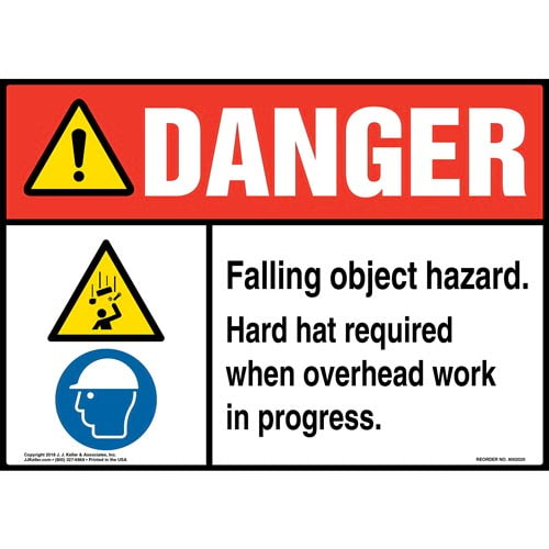 Danger: Falling Object Hazard, Hard Hat Required When Overhead Work in Progress Sign with Icons - ANSI (014183)