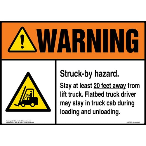 Warning: Struck-by Hazard, Stay 20 Ft. Away From Lift Truck with Icon - ANSI (014076)