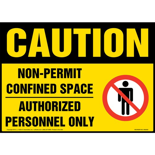 Caution: Non-Permit Confined Space, Authorized Personnel Only Sign with Icon - OSHA (014447)