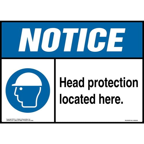 Notice: Head Protection Located Here Sign with Icon - ANSI (014451)