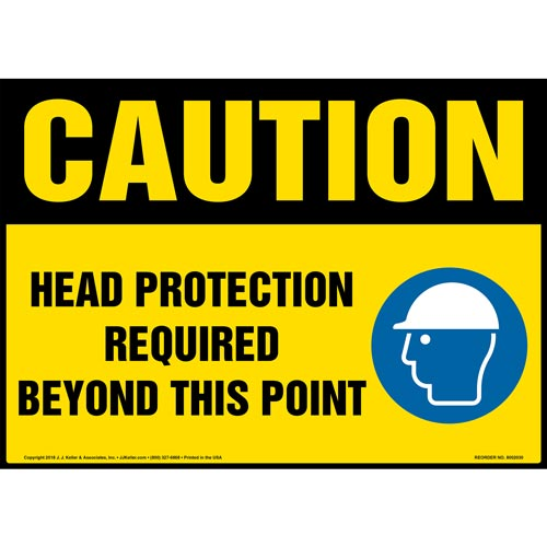 Caution: Head Protection Required Beyond This Point Sign with Icon - OSHA (014452)