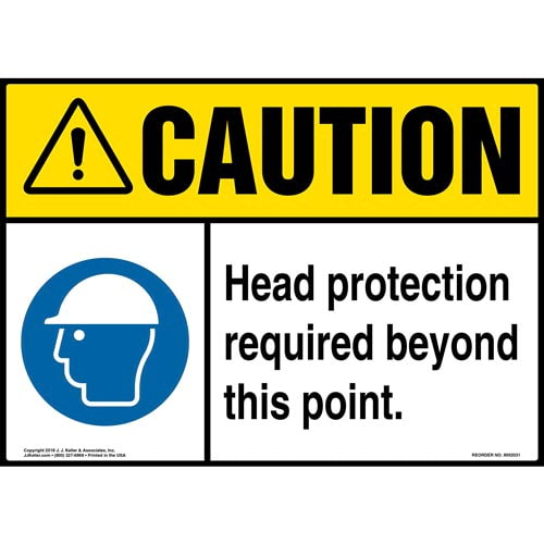 Caution: Head Protection Required Beyond This Point Sign with Icon - ANSI (014453)