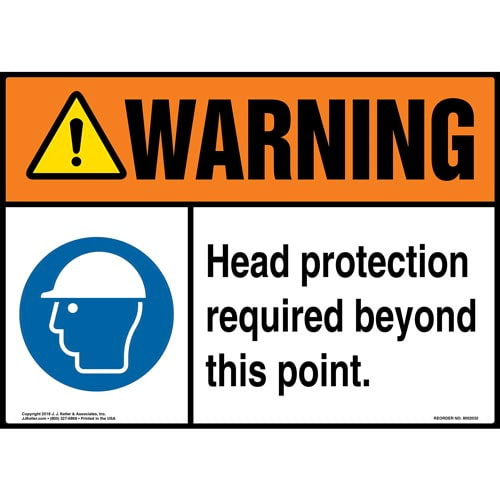 Warning: Head Protection Required Beyond This Point Sign with Icon - ANSI (014454)