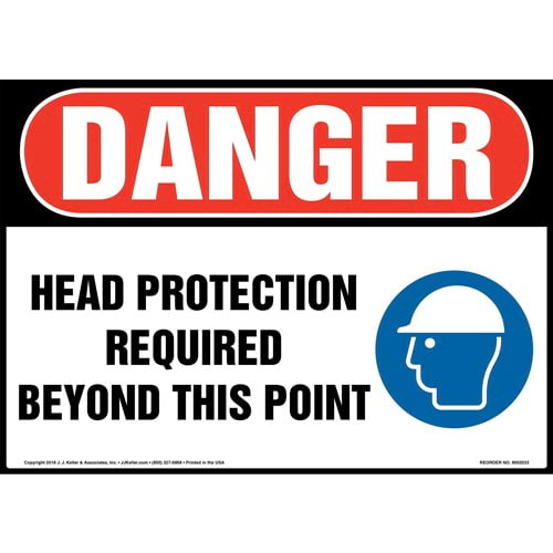 Danger: Head Protection Required Beyond This Point Sign with Icon - OSHA (014455)