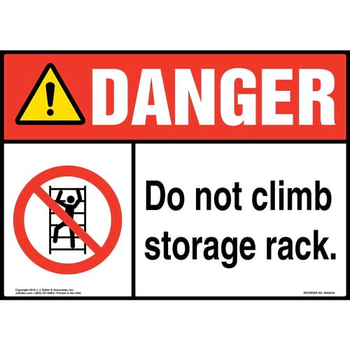 Danger: Do Not Climb Storage Rack Sign with Icon - ANSI (014192)
