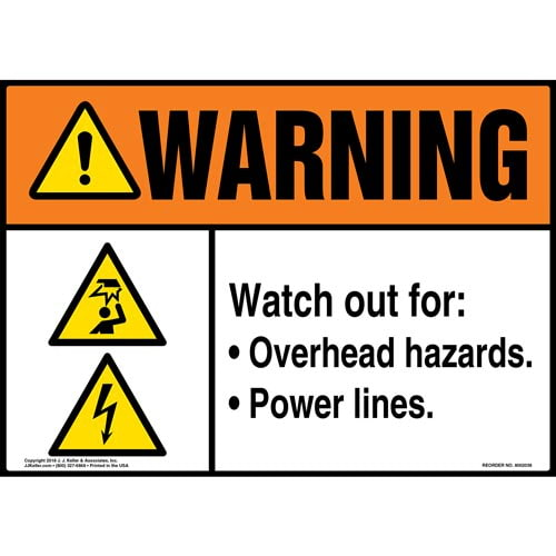 Warning: Watch Out For: Overhead Hazards, Power Lines Sign with Icons - ANSI (014188)