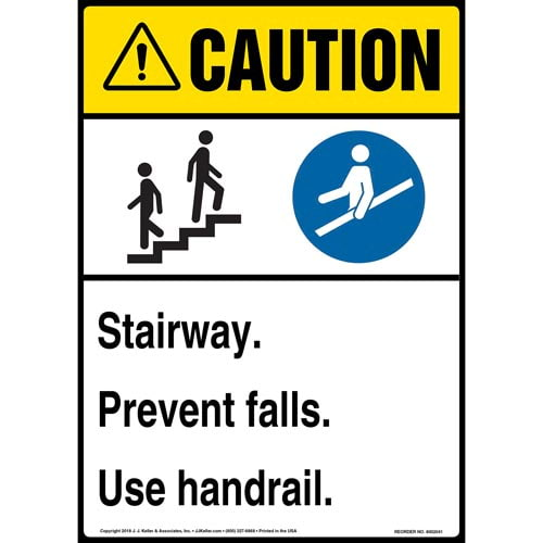 Caution: Stairway, Prevent Falls, Use Handrail Sign with Icons - ANSI (014194)