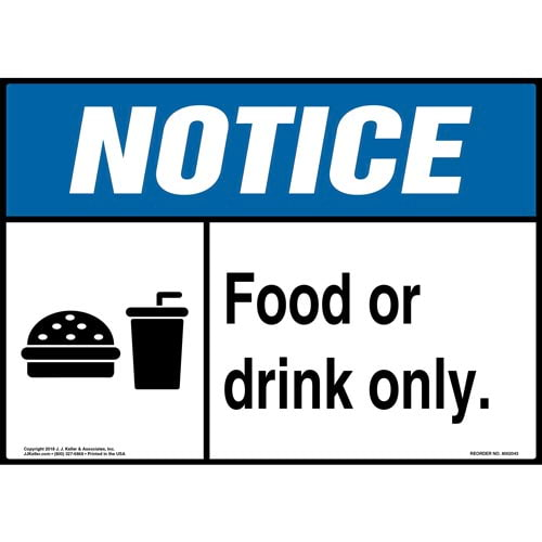 Notice: Food Or Drink Only Sign with Icon - ANSI (014196)