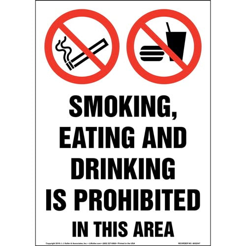 Smoking, Eating And Drinking Is Prohibited In This Area Sign with Icons (014199)