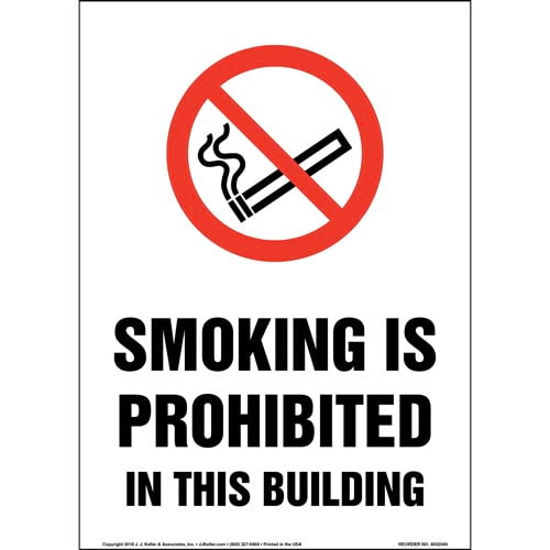 Smoking Is Prohibited In This Building Sign with Icon (014201)