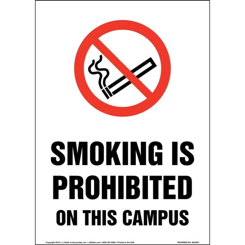 Smoking Is Prohibited On This Campus Sign with Icon (014239)