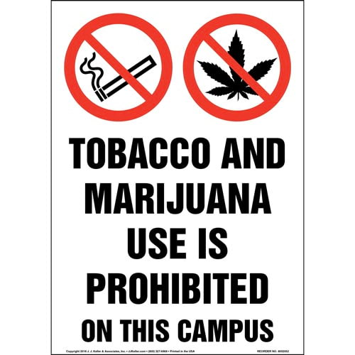 Tobacco And Marijuana Use Is Prohibited On This Campus Sign with Icons (014204)