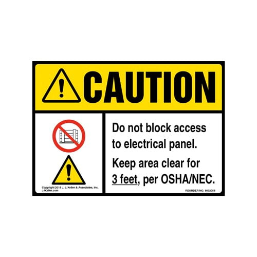 Caution: Do Not Block Electrical Panel, Keep Area Clear For 3 Ft. Label with Icons - ANSI (014210)