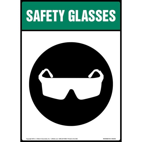 Safety Glasses Sign with Icon (014214)