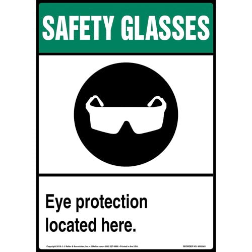 Safety Glasses: Eye Protection Located Here Sign with Icon (014215)