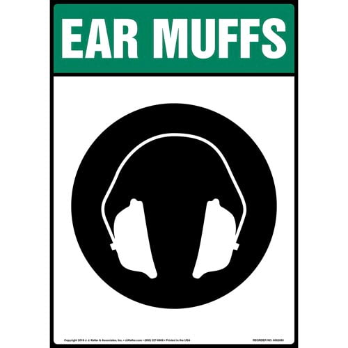 Ear Muffs Sign with Icon (014217)