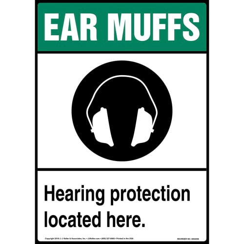 Ear Muffs: Hearing Protection Located Here Sign with Icon (014218)