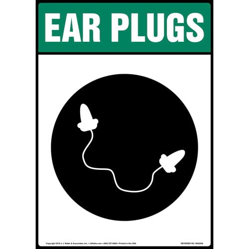 Ear Plugs Sign with Icon (014220)