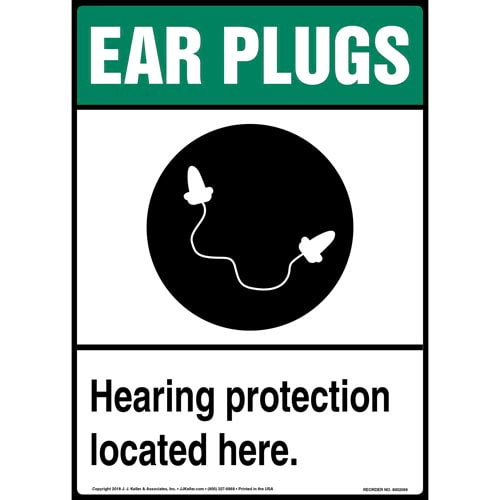 Ear Plugs: Hearing Protection Located Here Sign with Icon (014221)