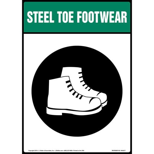 Steel Toe Footwear Sign with Icon (014229)