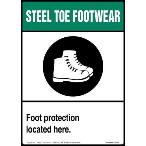 Steel Toe Footwear: Foot Protection Located Here Sign with Icon (014230)
